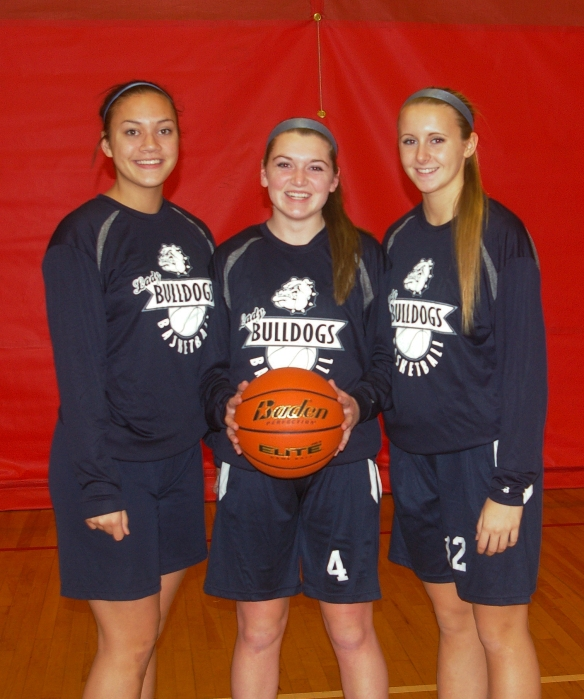 Captains have been announced for the Girls Varsity Basketball Team Left to right: Kyra Rose, Kara Penney and Kallie Morss